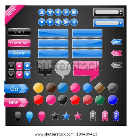 Web Elements Vector Button Set - stock vector