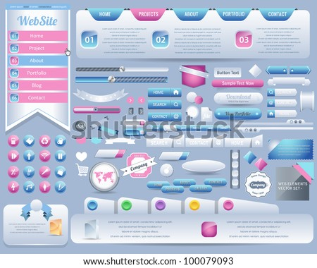 Web Elements Vector Design Set - stock vector