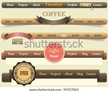 Web Elements Vector Header & Navigation Templates Set, Coffee Colour Style - stock vector