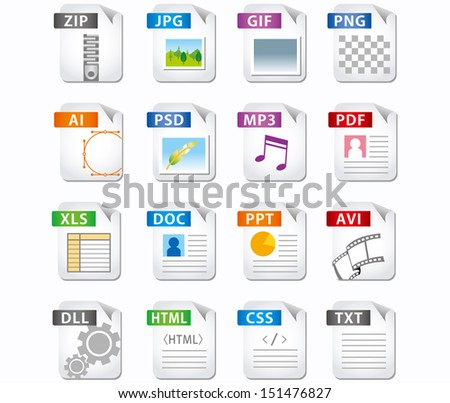web file labels icon set - stock vector