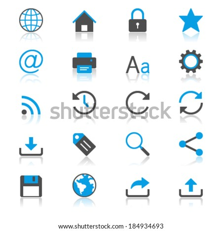 Web flat with reflection icons - stock vector
