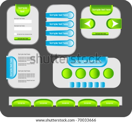 web forms and buttons in bright colors - stock vector