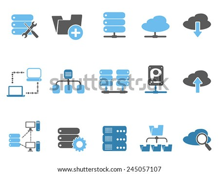 web host icons set, blue series - stock vector