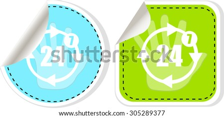 web icon button set with twenty four hours by seven days  icon, vector illustration. isolated on white. Vector illustration - stock vector