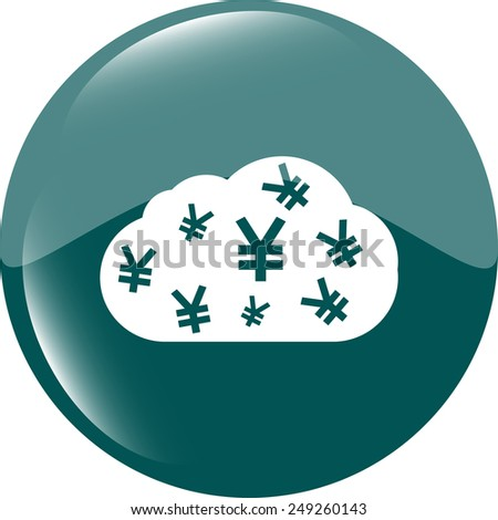 web icon cloud with yen sign, web button isolated on white - stock vector