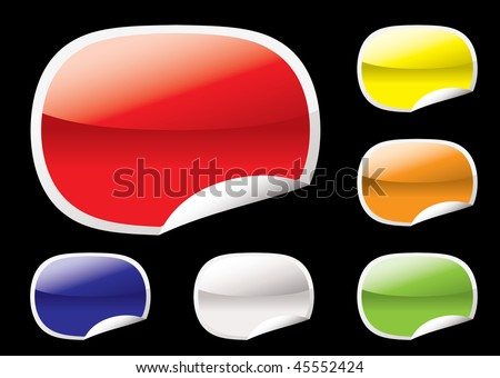 Web icon collection with paper curl edge and gel effect - stock vector