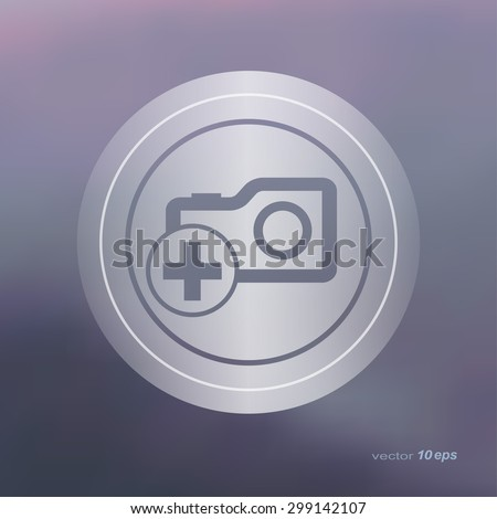 Web icon on the blurred background. Camera symbol.  Vector illustration - stock vector