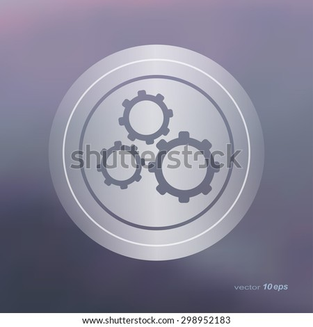 Web icon on the blurred background.Cog Wheel. Setting  Symbol.  Vector illustration - stock vector