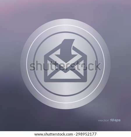 Web icon on the blurred background. Send email symbol.  Vector illustration - stock vector
