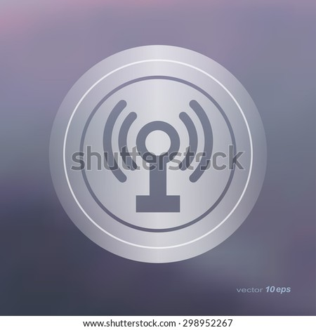 Web icon on the blurred background.Transmitter Pointer Symbol. Vector illustration - stock vector