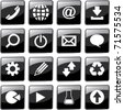 Web icon set - email, phone, download, start, play. Black button set for online. - stock vector