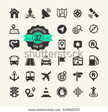 Web icon set. Location, navigation and  transport - stock vector