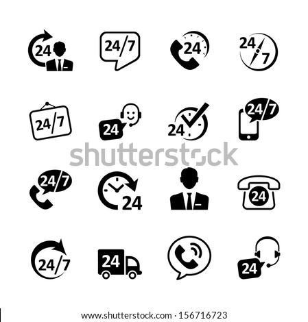 Web icon set -nonstop service, delivery, support, phone - stock vector