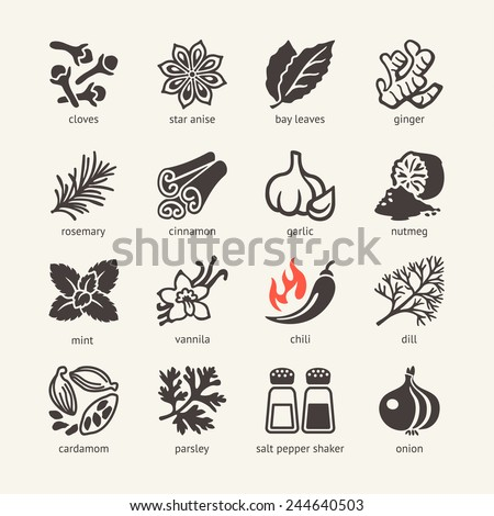 Web icon set - spices, condiments and herbs - stock vector