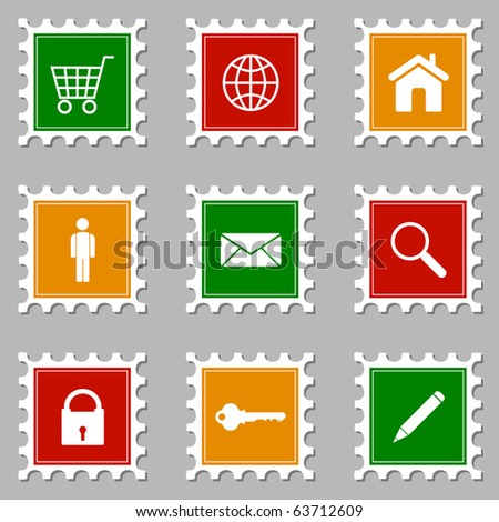 Web Icon Stamps - I - stock vector