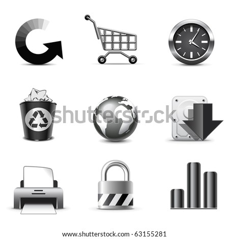 Web icons | B&W series - stock vector