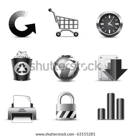 Web icons | B&W series - stock vector