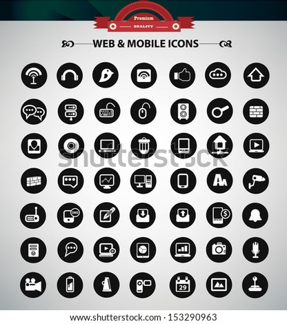 Web icons,Black version,vector - stock vector
