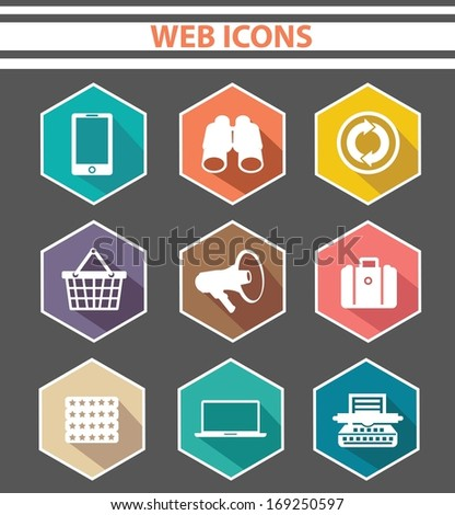 Web icons,Colorful version,on white background,vector - stock vector
