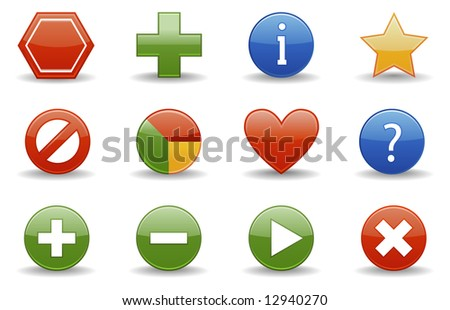 Web icons | Glossy series part 1 - stock vector