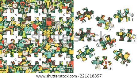 Web Icons: Match pieces, visual game. Solution in hidden layer! Illustration is in eps8 vector mode! Each elements are isolated and on separate layers. - stock vector