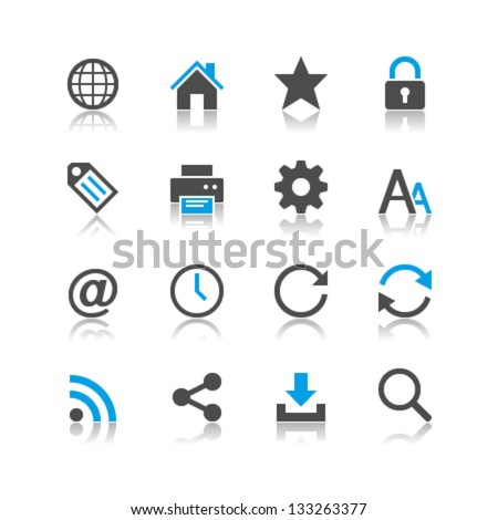 Web icons reflection theme - stock vector