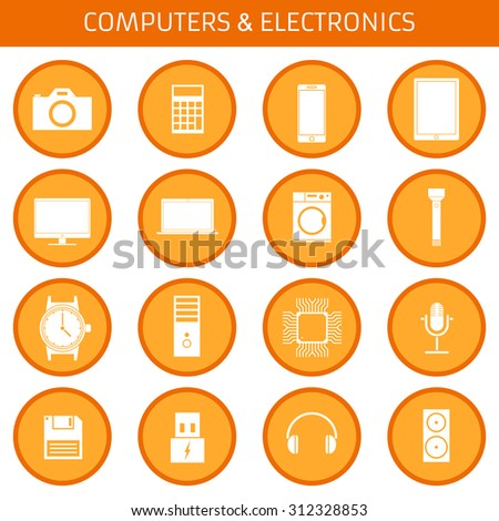 Web icons set for electronics applications: camera, calculator, phone, tablet, monitor, laptop, washing machine, flashlight, clock, processor, microphone, floppy disk, headphones. Flat design. - stock vector