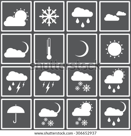 Web icons set for weather: sun, clouds, rain, rain and thunderstorms, partly cloudy, cloudy, temperature, umbrella, rain, snow, night, thermometer, moon. Flat design. - stock vector