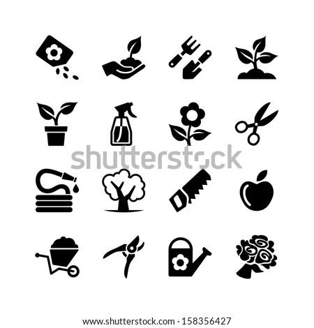 Web icons set - Gardening, tools, flowers - stock vector