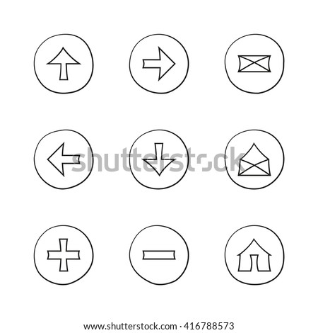 Web icons set. Hand-drawn round buttons. Isolated. Vector illustration. Arrows, Letters, Home, Plus, Minus - stock vector