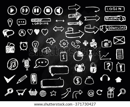 Web icons set hand drawn with chalk on blackboard - stock vector