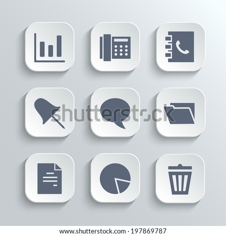 Web icons set - vector white app buttons with diagram fax phonebook pin speech bubble document chart trash can and folder symbols - stock vector