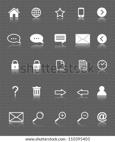 web icons set with reflection on dark background - stock vector