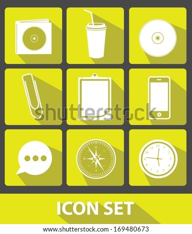 Web icons,Yellow buttons,vector - stock vector