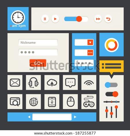 Web interface template. Flat design - stock vector