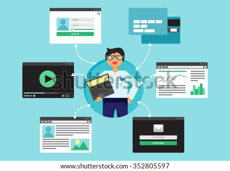 Web Life of Programmer and System Administrator with notebook from video, blog, social networks, online shopping and email. Graphic user interface and pages forms and elements. Vector - stock vector