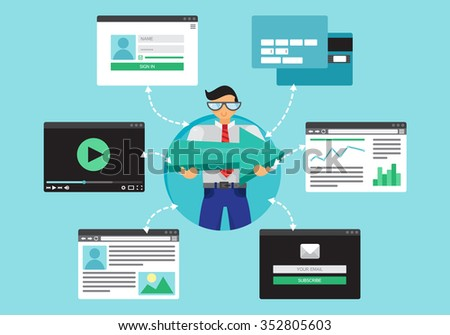 Web Life of Worker Man from video, blog, social networks, online shopping and email. Graphic user interface and pages forms and elements. Vector - stock vector