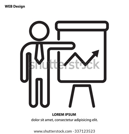 Web line icon -?? Business; Report (man at the flipchart) - stock vector
