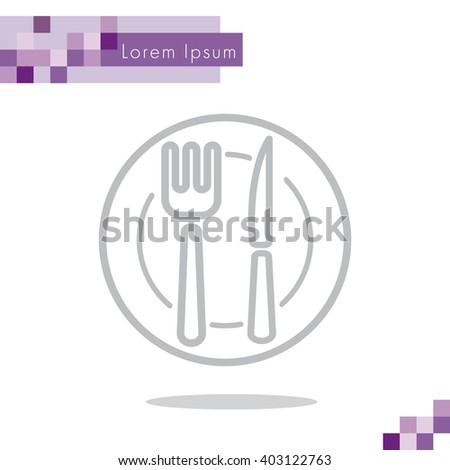 Web line icon. Cutlery (plate , fork and knife) - stock vector