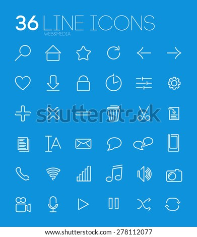 Web Line Icon Set - stock vector