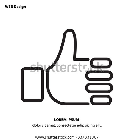 Web line icon. Thumbs up, like - stock vector