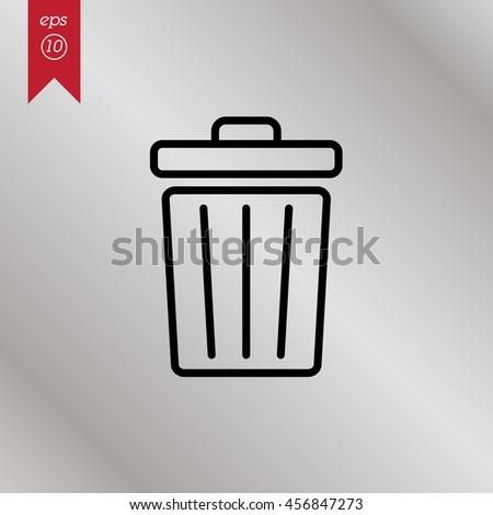 Web line icon. Trash can - stock vector