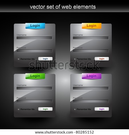 web login form style element - stock vector