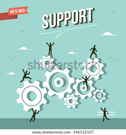 Web marketing gear wheel support design. This illustration is layered for easy manipulation and custom coloring - stock vector