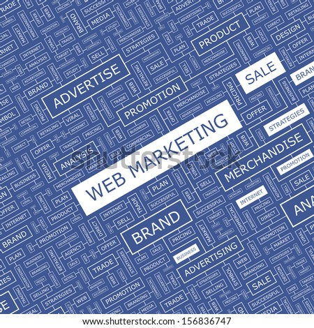 WEB MARKETING. Word cloud illustration. Tag cloud concept collage. Vector text illustration.  - stock vector