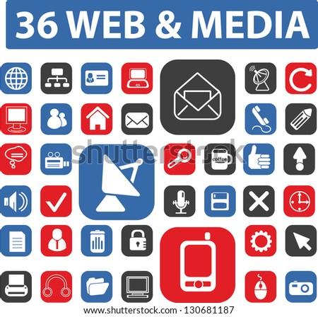 web, media buttons set, vector - stock vector