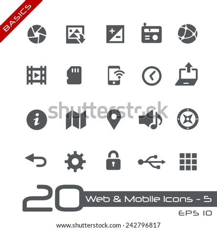 Web & Mobile Icons - 5 // Basics - stock vector