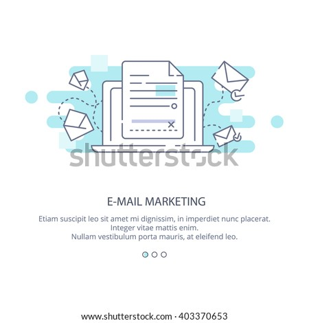 Web page design template of e-mail marketing and news letter advertising. Communication concept, sharing spam, information dissemination, business promotion, sending email in flat layout style.  - stock vector