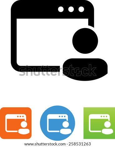 Web page with admin/user symbol for download. Vector icons for video, mobile apps, Web sites and print projects.  - stock vector