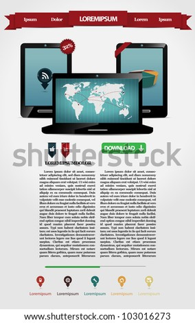 Web page with two mobile phones and one laptop - stock vector